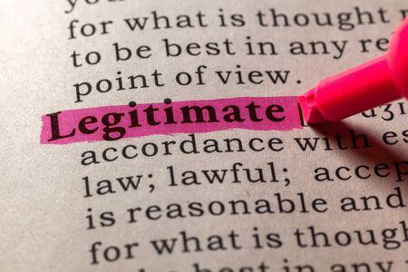 dictionary: Fake Dictionary, Dictionary definition of the word legitimate