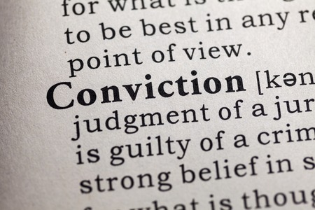 definitions: Fake Dictionary, Dictionary definition of the word conviction.
