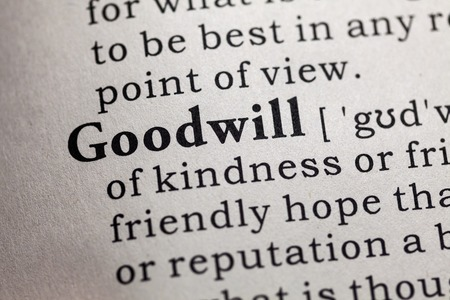 definitions: Fake Dictionary, Dictionary definition of the word goodwill. Stock Photo