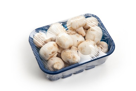 champignon: Mushrooms in blue plastic box isolated on white background Stock Photo