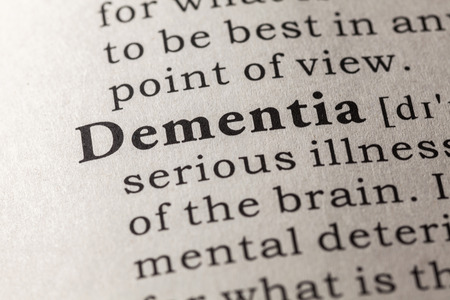 Fake Dictionary, Dictionary definition of the word dementia Stock Photo - 48655827