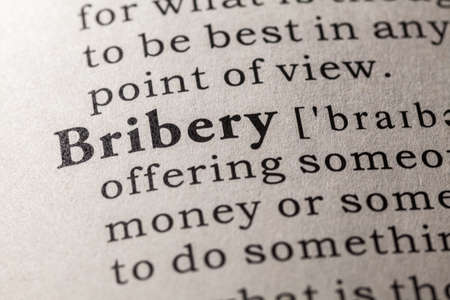 bribery: Fake Dictionary, Dictionary definition of the word bribery Stock Photo