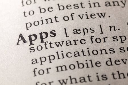 Fake Dictionary, Dictionary definition of the word apps Stock Photo - 50000283