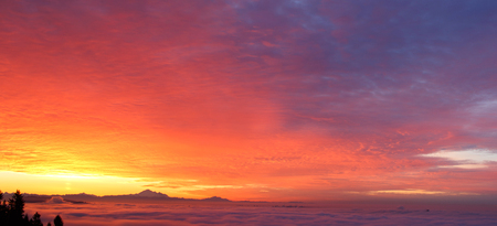 mt baker: morning glow and Mt. Baker, intense golden cloudscape.