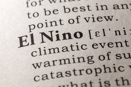 printing out: Fake Dictionary, Dictionary definition of the word El Nino Stock Photo
