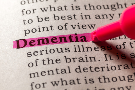 senile: Fake Dictionary, Dictionary definition of the word dementia Stock Photo