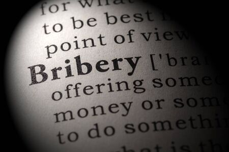 Fake Dictionary, Dictionary definition of the word bribery Stock Photo