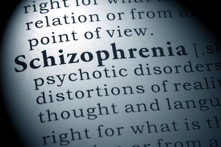 Definizione del dizionario della parola schizofrenia. Archivio Fotografico - 54035227