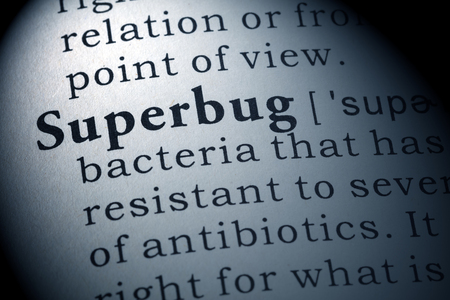 Dictionary definition of the word superbug. Stock Photo