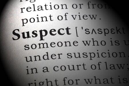 definicion: Definición del diccionario de la palabra sospechosa. Foto de archivo
