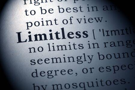 definicion: Definición del diccionario de la palabra sin límites.
