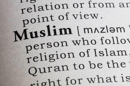 definicion: Definici�n del diccionario de la palabra musulm�n. Foto de archivo