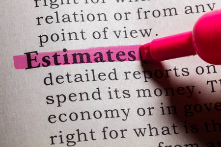 dictionary: Dictionary definition of the word estimates.