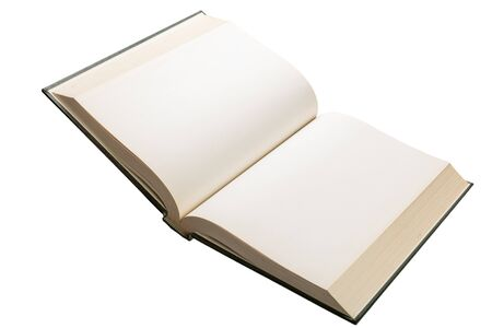 vintage document: Blank white pages in an open hardcover book isolated on a white background.
