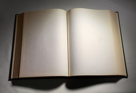 hardcover book: Blank white pages in an open hardcover book.