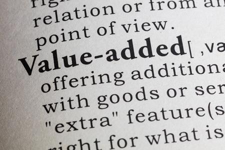 valor: -Valor añadido Definición del diccionario de.