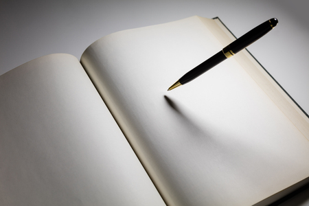 book pages: Blank pages in an open book with a pen