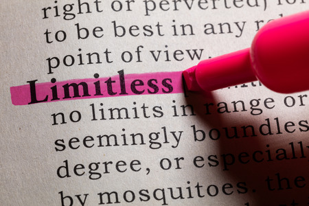 dictionary: Dictionary definition of the word Limitless.