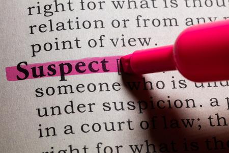 definicion: Definici�n del diccionario de la palabra sospechosa. Foto de archivo