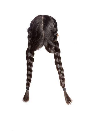 shiny black: Women braid on a white background.