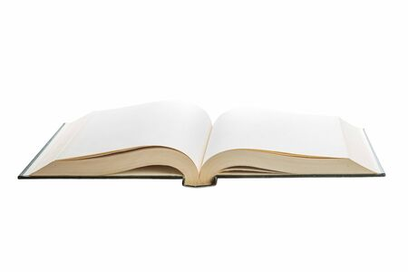 hardcover book: Blank white pages in an open hardcover book isolated on a white background.