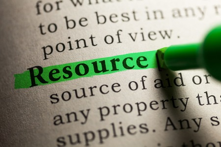 dictionary definition: Fake Dictionary, definition of the word resource. Stock Photo