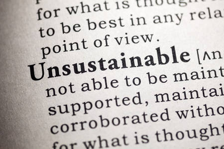 Fake Dictionary, Dictionary definition of the word Unsustainable.