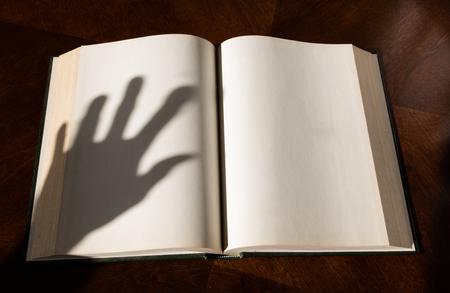 vintage document: Blank white pages in an open hardcover book and hand shadow