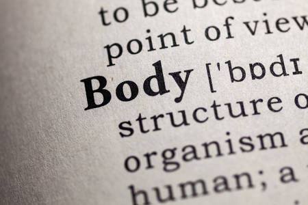 definitions: Fake Dictionary, Dictionary definition of the word body. Stock Photo