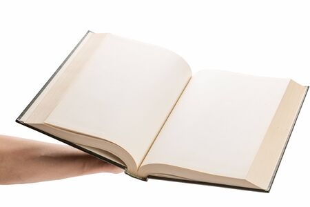 hardcover: Blank white pages in an open hardcover book isolated on a white background.