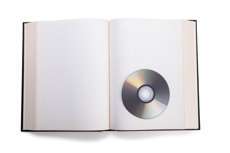 open book and compact disk,  concept of digital information. Stock Photo