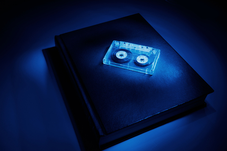 music education: book and a cassette, music education concept.