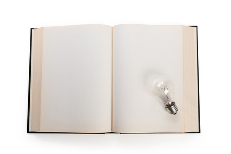 book concept: book and light bulb, business education concept.