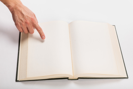 old books: Blank white pages in an open hardcover book.