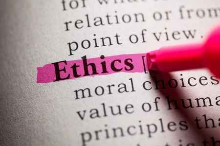 definitions: Fake Dictionary, definition of the word Ethics. Stock Photo