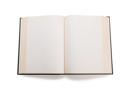 yellow pages: Blank white pages in an open hardcover book isolated on a white background.
