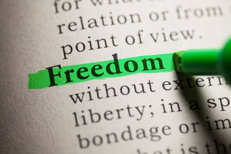 dictionary definition: Fake Dictionary, definition of the word Freedom. Stock Photo