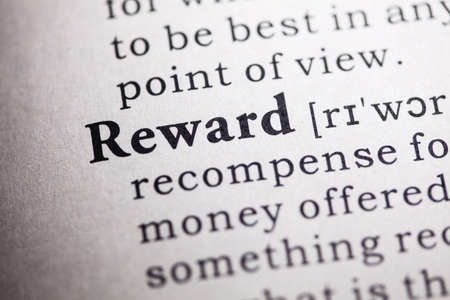 Fake Dictionary, Dictionary definition of the word reward. 版權商用圖片