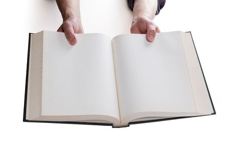 hardcover: Blank white pages in an open hardcover book.