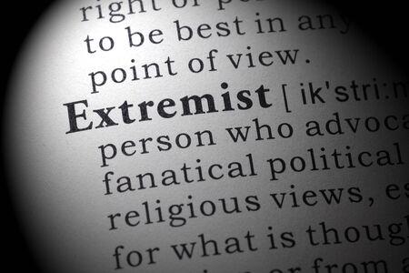 delincuencia: Diccionario falso, Definici�n del diccionario de la palabra extremista.