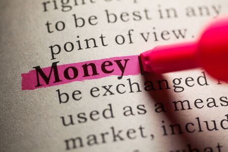 fake money: Fake Dictionary, definition of the word money. Stock Photo