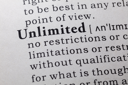 unlimited: Fake Dictionary, Dictionary definition of the word unlimited. Stock Photo