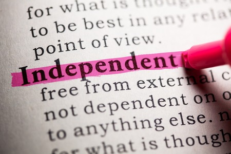 Fake Dictionary, Dictionary definition of the word independent. Stock Photo