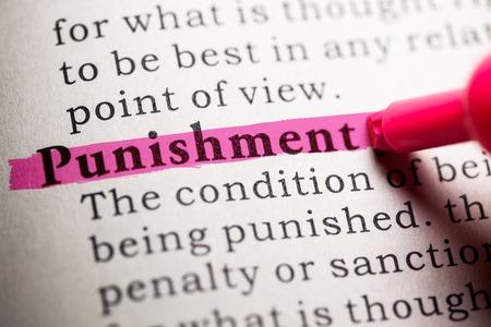 가짜 사전, 단어 처벌의 사전 정의.