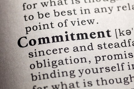 Fake Dictionary, Dictionary definition of the word commitment. Banco de Imagens