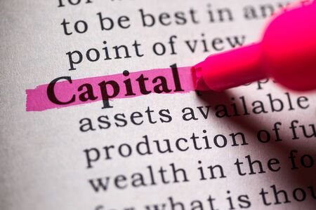 definitions: Fake Dictionary, Dictionary definition of the word capital. Stock Photo