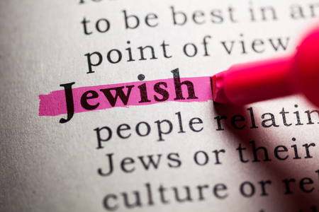 printing out: Fake Dictionary, Dictionary definition of the word Jewish. Stock Photo