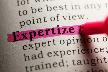 expertize: Fake Dictionary, definition of the word expertize. Stock Photo