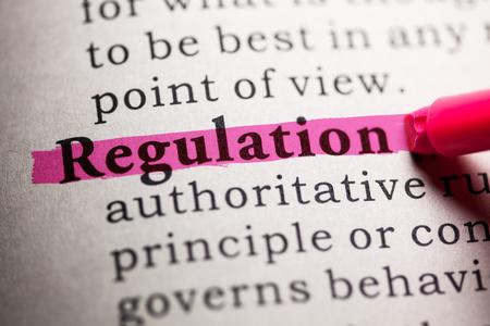 Dictionnaire Faux, Définition du dictionnaire du mot réglementation.