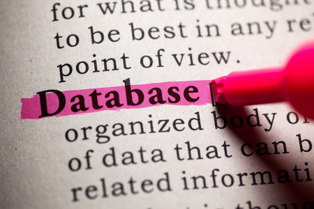 dictionary definition: Fake Dictionary, Dictionary definition of the word database. Stock Photo